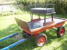 TROLLEY to suit a Shetland pony single or pair. In natural varnished wood with black leatherette cu