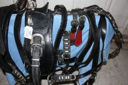 Complete set of black leather trade harness to fit full size/x-full size