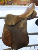 17ins brown GP saddle by GFS, medium fit; stitching needs repairing - carries VAT
