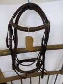 Full size brown leather bridle with rubber reins - carries VAT