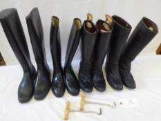 4 prs long riding boots - 2 x leather and 2 x rubber, sizes 37/38, plus a pair of boot pulls