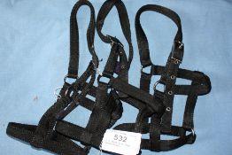 3 x black mini pony headcollars