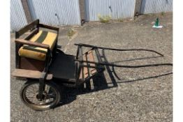EXERCISE CART to suit 12 to 13.2hh pony. A black painted metal frame, the body in natural varnishe