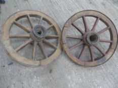 Pair of cart wheels diameter approx. 24 inches