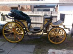 VICTORIA circa 1900 to suit 15 to 17hh. Painted yellow and black with green lining.