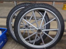 Pair of wheels and tyres, 18ins - carries VAT