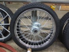 Pair of wire wheels and tyres, 18ins - carries VAT
