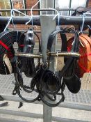 Complete set of black patent/brass full size PAIR harness