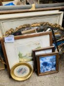 Small collection of framed pictures; two framed glazed tiles; and a bevelled edge mirror.