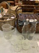 Wicker bottle and glasses carrier complete with six champagne glasses, and other picnic items.