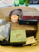 Box of playing cards with mother of pearl inlay counters; various boxes and other misc. items.