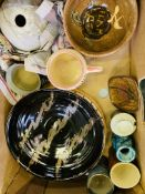 A collection of studio pottery.