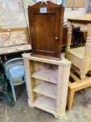 Pine three shelf corner unit, and an oak corner wall mounted cupboard.