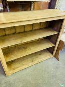 Pine open bookshelves, with three shelves.