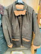 Suede leather 3/4 length coat XXXL.