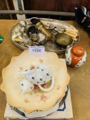 China plates and silver plate.
