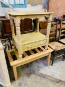 Painted pine small wash stand and slatted top low table