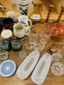 Assortment of china and glassware.