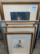 12 framed and glazed prints, signed by same artist together with various pictures and prints.