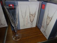 6 Melodia Crystal Champagne flutes. This item carries VAT.