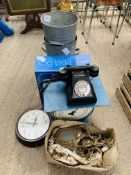 Sterling post box, 2 galvanised buckets, Bakelite phone, Salter scales, and other items