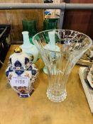 Pair of pale green bottle vases, pair green large wine glasses, Imari ginger vase, RCR vase as found