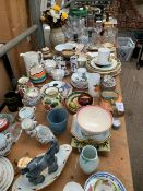 Large quantity of chinaware, glassware, pottery, metal ware.