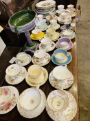 15 various tea cups and saucers and qty decorative china