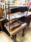 Two mahogany shelf units, nest of three mahogany tables and mahogany cabinet with frieze drawer over
