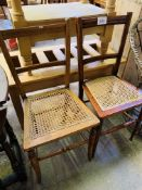 Two cane seat bedroom chairs.