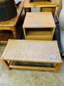 Pine bedside table and string seat stool.