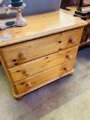 Pine chest of three drawers.