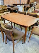 Danish 'Vanson' 1950's teak extendable table together with 3 chairs and 2 carvers.