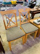 Two modern dining chairs.