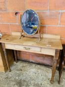 Pine side table with frieze drawer, upstand and mirror.