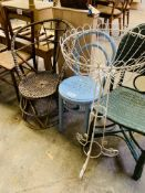 Rattan chair, bentwood chair, rattan style chair; metal jardiniere