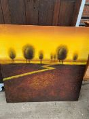Unframed reproduction oil painting on canvas.