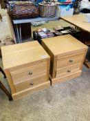 Pair of Alexander Furniture light oak 2 drawer bedside cabinets.