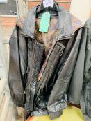 Black leather jacket 3/4 length.