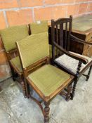 Oak framed carver dining chair and 3 oak framed Arts & Crafts style dining chairs.