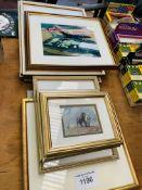 Four framed and glazed prints of birds, four limited edition framed and glazed prints