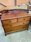 Mahogany chest over two over two graduated drawers.