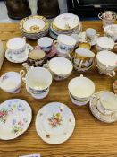 Quantity of teacups and saucers together with two Victorian teapots and quantity of Johnson Bros pla