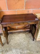 Mahogany lyre table with two frieze drawers.
