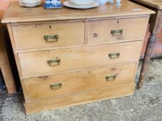 Antique pine chest two over two drawers with brass handles.