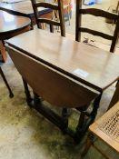 Oak gate leg drop side table.