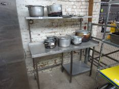 Stainless steel prep table with over shelf