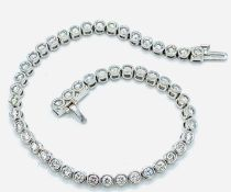 18ct white gold and diamond tennis bracelet.