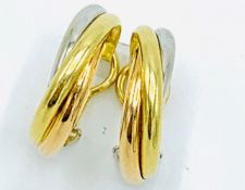 18ct gold Cartier three colour twist earrings.