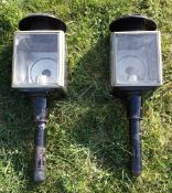 Pair of black/whitemetal square fronted carriage lamps with pie crust tops
